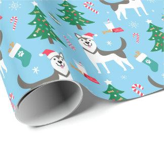 Papel de embalaje del navidad del husky siberiano