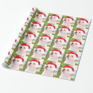 Papel de embalaje del navidad del perrito del