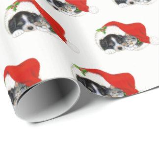 Papel de embalaje del navidad del perrito y del