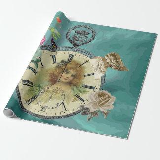 Papel de embalaje del reloj de reloj del chica del