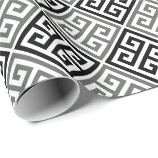 Papel de embalaje dominante griego blanco y negro papel de regalo