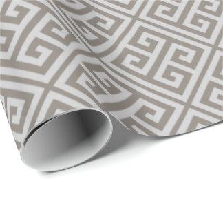 Papel de embalaje dominante griego gris papel de regalo