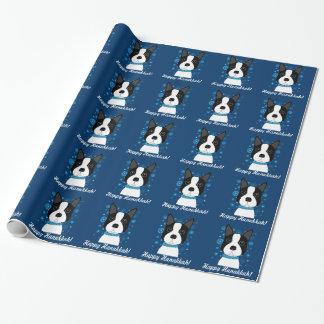 Papel de embalaje feliz de Jánuca Boston Terrier