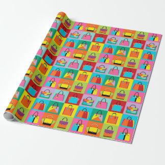 Papel de embalaje femenino colorido de los bolsos
