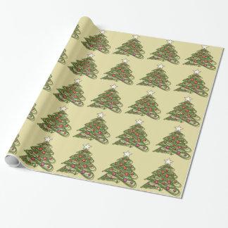 Papel de embalaje festivo de los árboles de