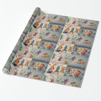 Papel de embalaje festivo de los gatos 2 papel de regalo
