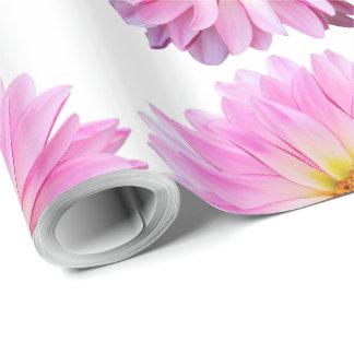 Papel de embalaje floral de la dalia rosada con