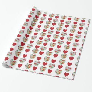 Papel de embalaje floral del modelo del corazón papel de regalo