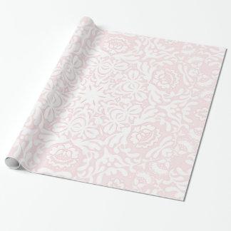 Papel de embalaje floral rosado del cordón papel de regalo