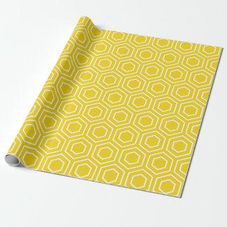 Papel de embalaje geométrico amarillo limón del papel de regalo