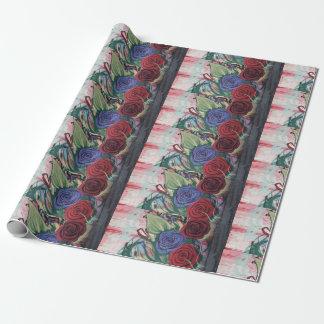 Papel de embalaje hermoso con los rosas rojos y