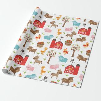 Papel de embalaje lindo de los animales del papel de regalo