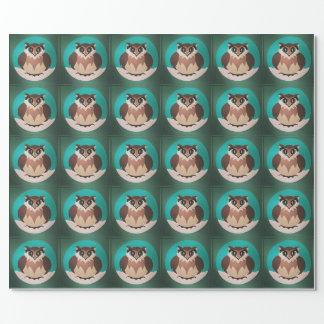 Papel de embalaje lindo festivo del búho del papel de regalo