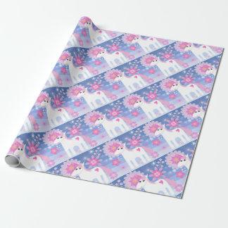 Papel de embalaje mate del unicornio rosado bonito