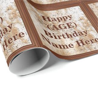 Papel de embalaje personalizado del cumpleaños su