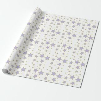Papel de embalaje púrpura de la estrella papel de regalo