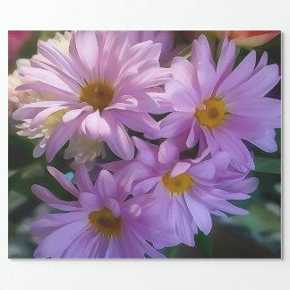 Papel de embalaje púrpura del ramo de la flor