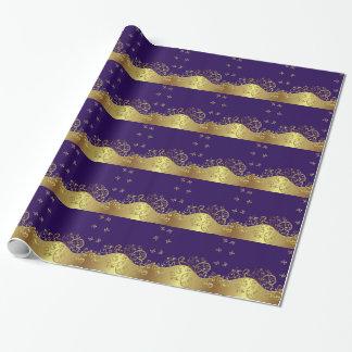 Papel de embalaje--Remolinos del oro y púrpura
