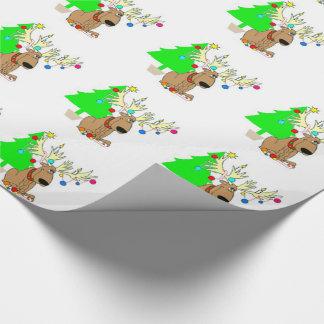 Papel de embalaje/reno y árbol de navidad