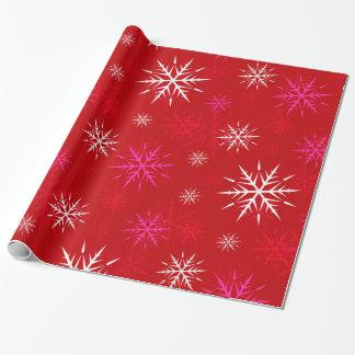 Papel de embalaje rojo caliente del copo de nieve