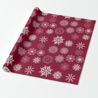 Papel de embalaje rojo de los copos de nieve del