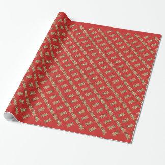 Papel de embalaje rojo del pan de jengibre del