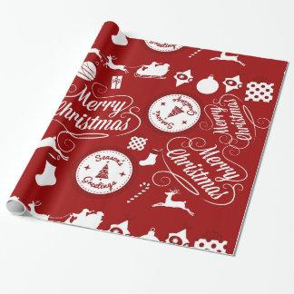 Papel de embalaje rojo festivo de las Felices Papel De Regalo