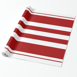 Papel de embalaje rojo y blanco de las rayas