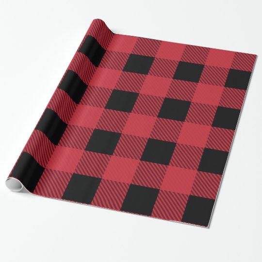 Papel de embalaje rojo y negro clásico del día de papel de regalo