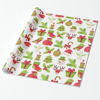 Papel de embalaje rojo y verde del navidad