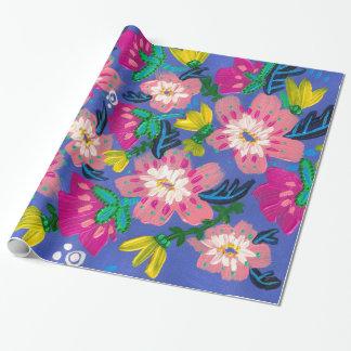 Papel de embalaje rosado de las floraciones