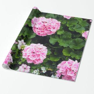 Papel de embalaje rosado de los geranios 185