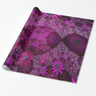Papel de embalaje rosado de los prados de la flor