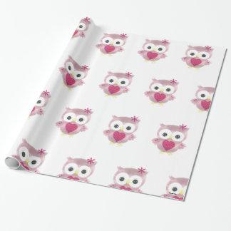 Papel de embalaje rosado del modelo del búho
