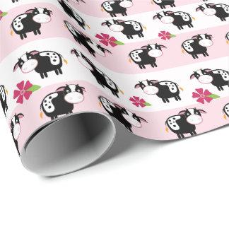 Papel de embalaje rosado del tema de la granja de