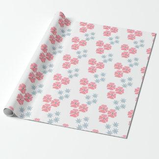 Papel de embalaje rosado y azul de la flor