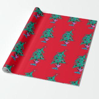 Papel de embalaje tambaleante del árbol de navidad papel de regalo