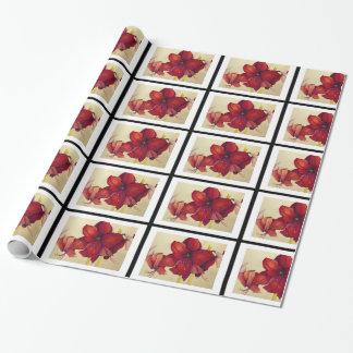 Papel de embalaje tejado Amaryllis rojo del Papel De Regalo