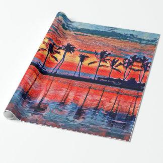 Papel de embalaje tropical de la puesta del sol