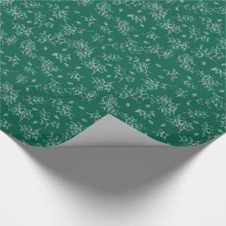 Papel de embalaje verde festivo del muérdago de papel de regalo