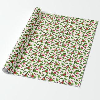 Papel de embalaje verde rojo del acebo del navidad