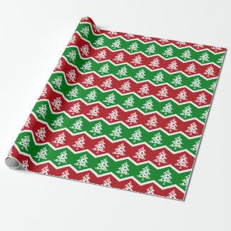 Papel de embalaje verde rojo del vintage de las papel de regalo