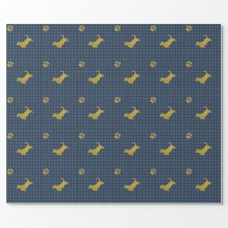Papel de envoltorio para regalos azul de la pata