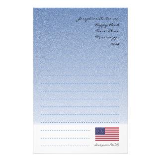 Papel de escribir azul de la bandera americana