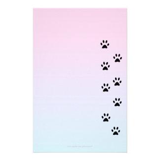 Papel de escribir con huellas del gato papelería