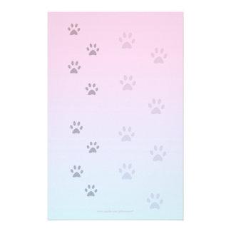 Papel de escribir con huellas del gato  papeleria