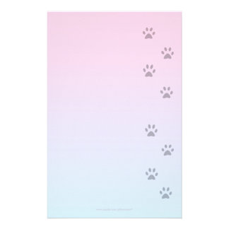 Papel de escribir con huellas del gato papelería personalizada