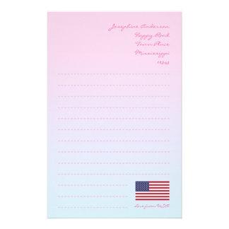 Papel de escribir de la bandera americana