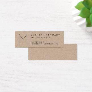 Papel de Kraft minimalista del monograma del Tarjeta De Visita Mini