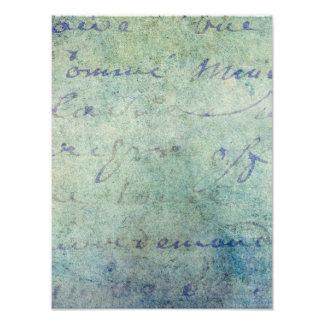 Papel de pergamino francés azul de la escritura impresiones fotográficas